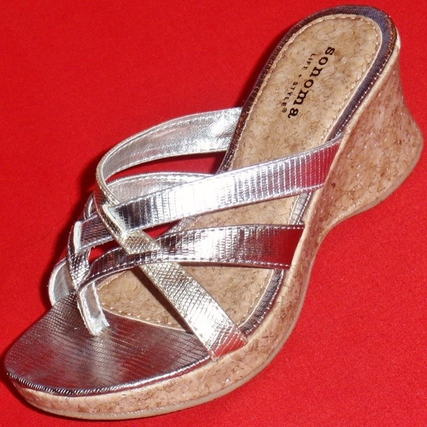 NEW-Girl-039-s-Youth-SONOMA-KATYA-Silver-Strappy-Fashion-Wedge-Sandals-Dress-Shoes