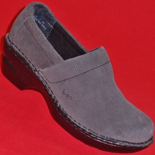 NEW-Womens-BORN-BOC-PEGGY-Gray-Leather-Suede-Wedge-Clogs-Loafers-Dress