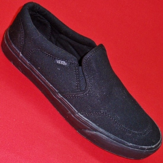 new s vans birch vulc solid black canvas loafers