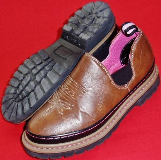 used s western chief romeo brown pink loafers slip