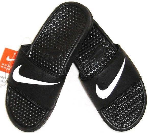 New mens nike benassi swoosh black white flip flops slides sandals
