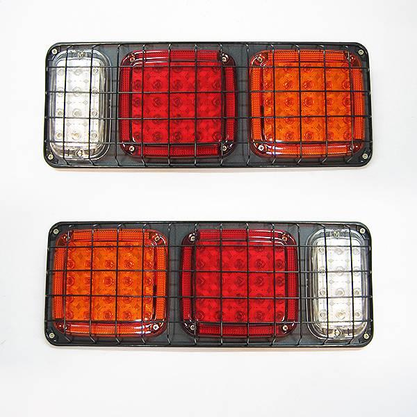 led rear tail lights truck lorry trailer caravan 12 24v set of 2 metal guard. Black Bedroom Furniture Sets. Home Design Ideas