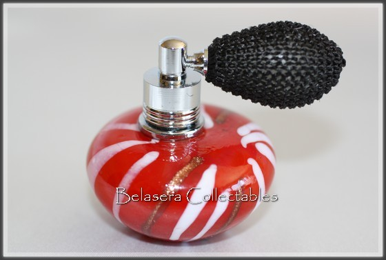 Red-with-White-Gold-Stripes-Art-Glass-Mini-Perfume-Bottle-With-Atomizer-Pump