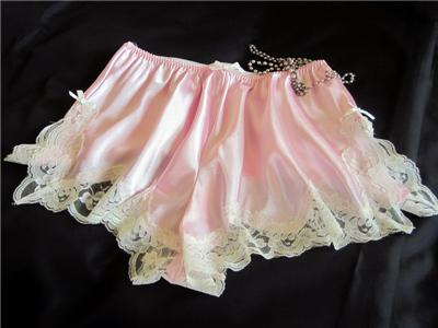 Lacy Pink Slinky Satin French Knickers Sexy Panties All ...