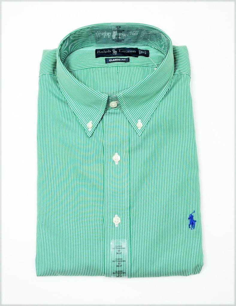 Ralph lauren polo mens classic fit button down dress shirt for Striped button down shirts for men
