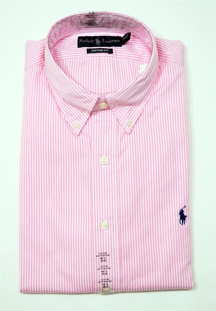 Nwt ralph lauren polo mens custom fit button down dress for Mens red and white striped dress shirt