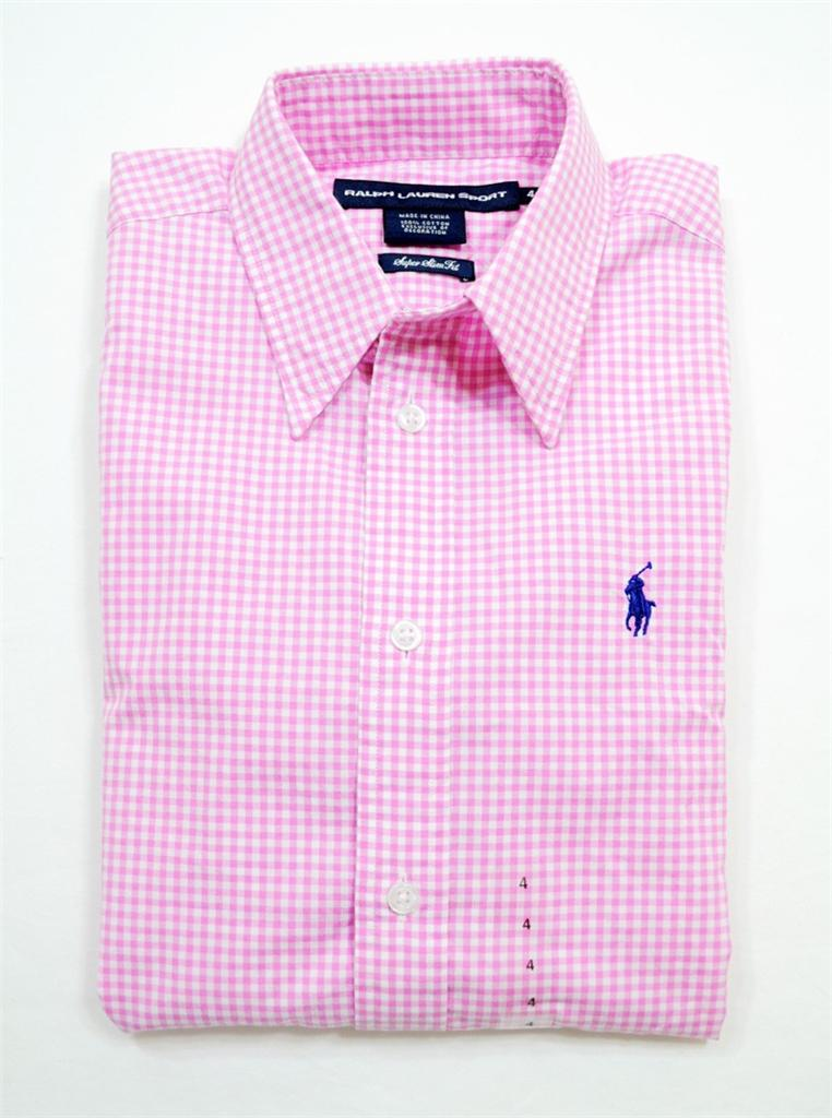 Nwt polo ralph lauren womens slim fit 3 4 sleeve dress for Pink gingham shirt ladies