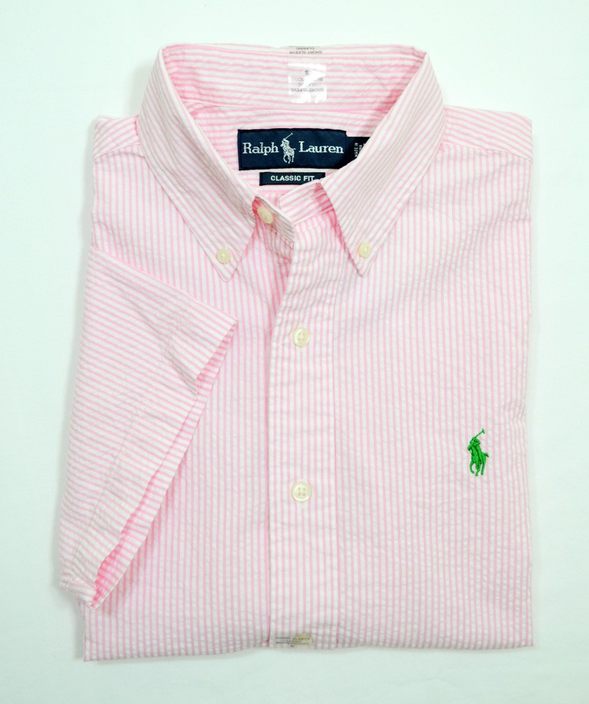 Nwt ralph lauren polo mens classic fit short sleeve for Mens short sleeve seersucker shirts