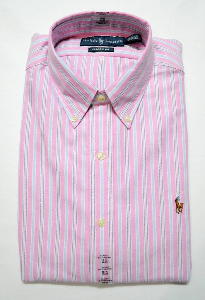 New with tag ralph lauren polo mens button down oxford for Pink oxford shirt men
