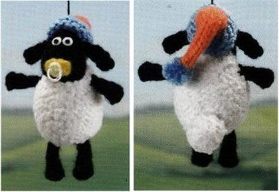 Pattern For Knitted Baby Hats : Alan Dart Shaun the Sheep & Friends baby mobile toy knitting pattern eBay