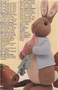 knit pattern for an Alan Dart design of Beatrix Potter's Peter Rabbit