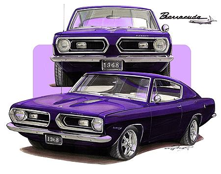 1968-69-Plymouth-Barracuda-Muscle-Car-Tshirt-NEW