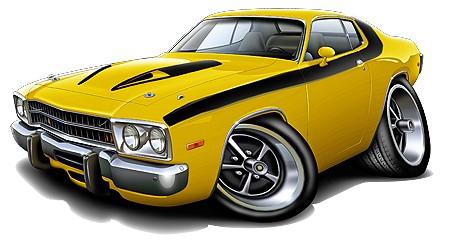 1973-74-Plymouth-Roadrunner-Muscle-Car-Cartoon-Tshirt