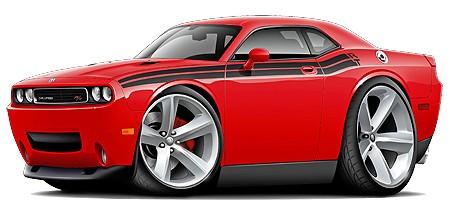 2009-11-Dodge-Challenger-RT-Car-Art-Cartoon-Tshirt-FREE