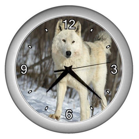 New White Wolf In The Snow Wall Hanging Clock Home Decor