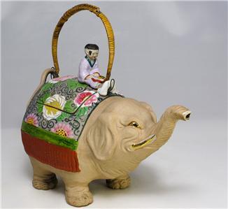 Amusing japanese banko ware elephant teapot ebay - Elephant shaped teapot ...