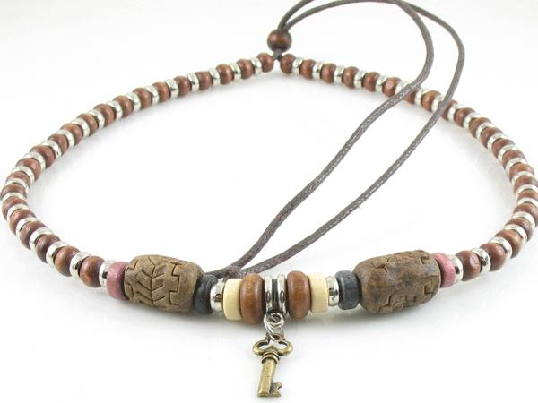 handmade surfer tribal ethnic beaded hemp necklace