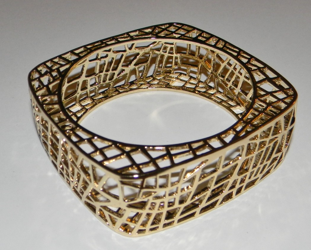 Jewelmint Bird Cage Bangle Bracelet Square Polished 24K Gold Plated New in Box
