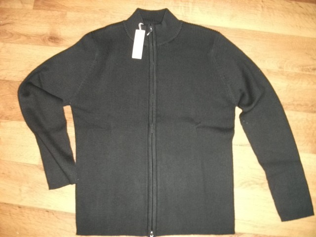 Ladies-black-B-C-Rib-Knit-full-Zip-Cardigan-jumper-top-Russell-Collection-NEW
