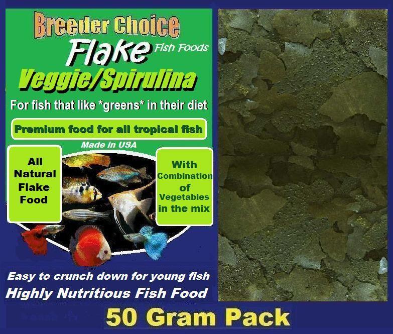 Veggie spirulina mixed flake tropical fish food 50g for Spirulina fish food