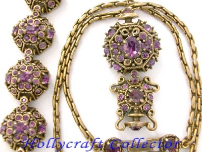 Vintage Hollycraft 1951 Amethyst Stones Necklace Bracelet Earrings