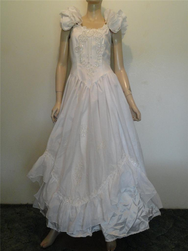 Vintage 1980s Ivory Beaded Southern Belle Party Prom Wedding Dress S