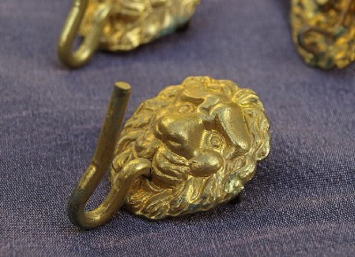 Gorgeous French vintage ormolu bronze lion head hooks