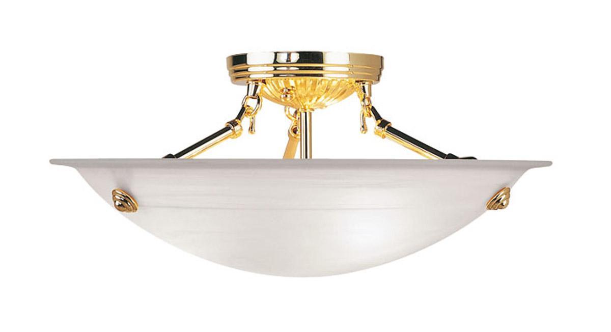 Livex Lighting 3 Light Home Basics Polished Brass Semi