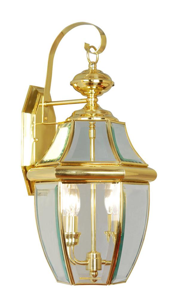 Livex Monterey Traditional 2 Light Outdoor Wall Lantern Polished Brass 2251 02 Ebay