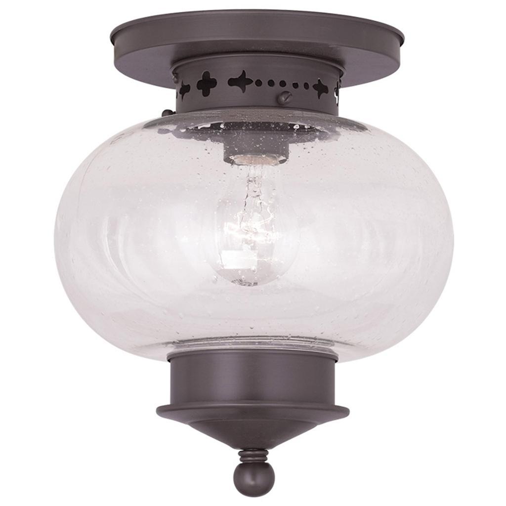 1 Light Bronze Livex Harbor Semi Flush Indoor Outdoor