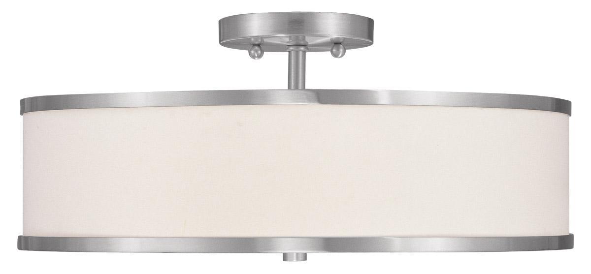 Livex Oldwick Modern Brushed Nickel 3 Light Bathroom: 3 Light Brushed Nickel Modern Livex Park Ridge Semi Flush