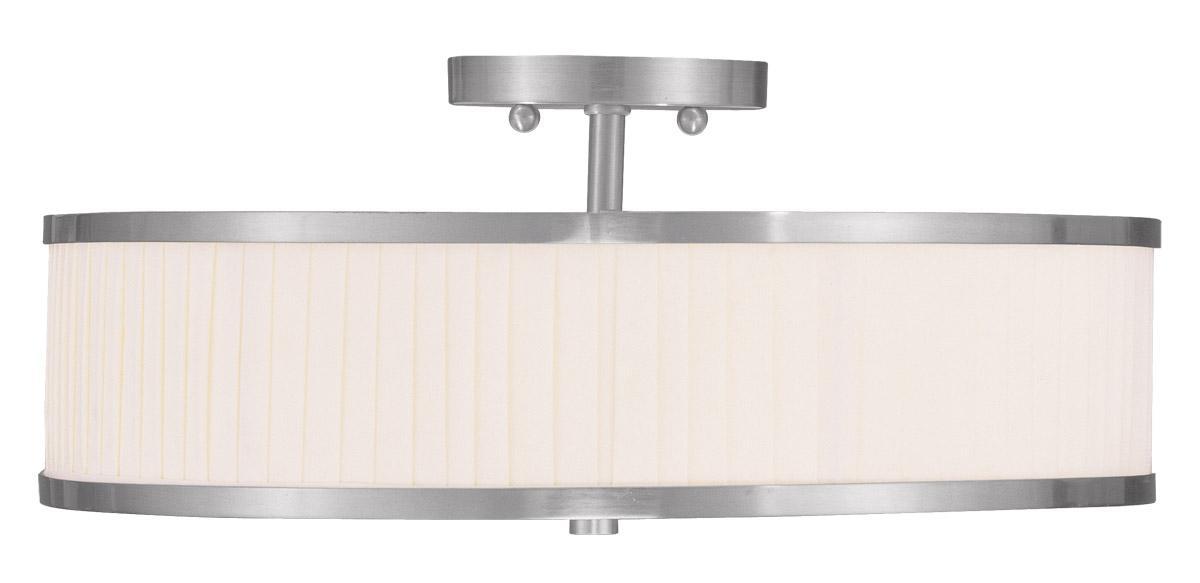 Livex Oldwick Modern Brushed Nickel 3 Light Bathroom: Park Ridge Livex 3 Light Modern Brushed Nickel Semi Flush