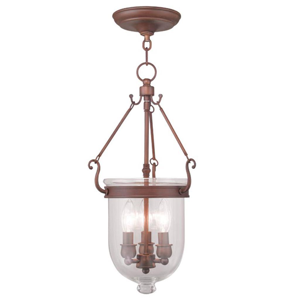 Livex Jefferson Vintage Bronze 3 Light Chain Hang Pendant