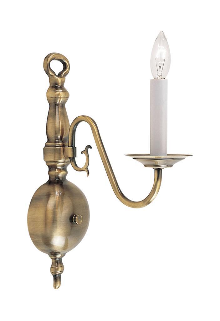 1 Light Antique Brass Livex Williamsburg Wall Sconce
