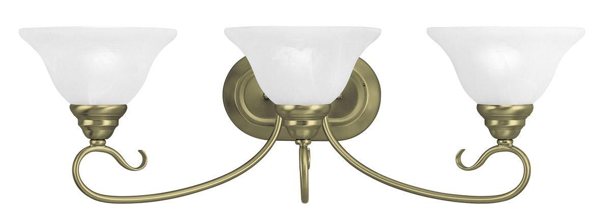 New 3 Light Bathroom Vanity Lighting Fixture Antique Brass: 3 Light Antique Brass Livex Coronado Wall Sconce Bath