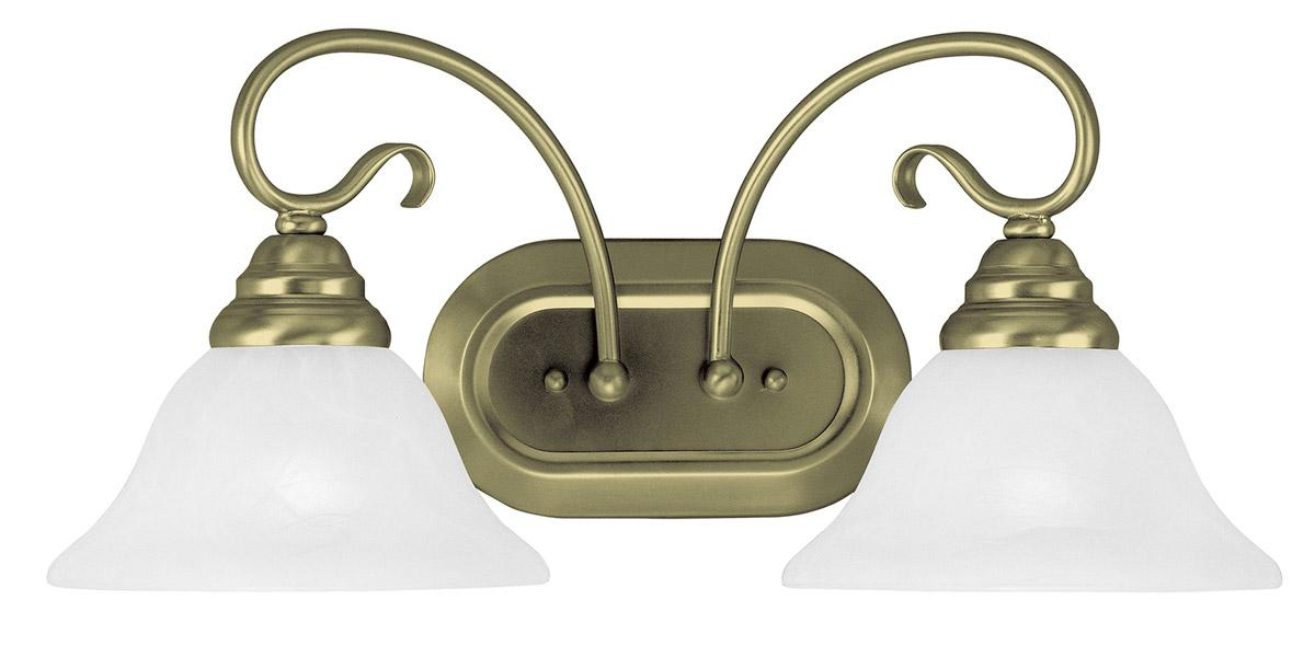 Brass Vanity Lights Bathroom : Livex Antique Brass 2 Light Coronado Bathroom Vanity Lighting Fixture 6102-01 eBay