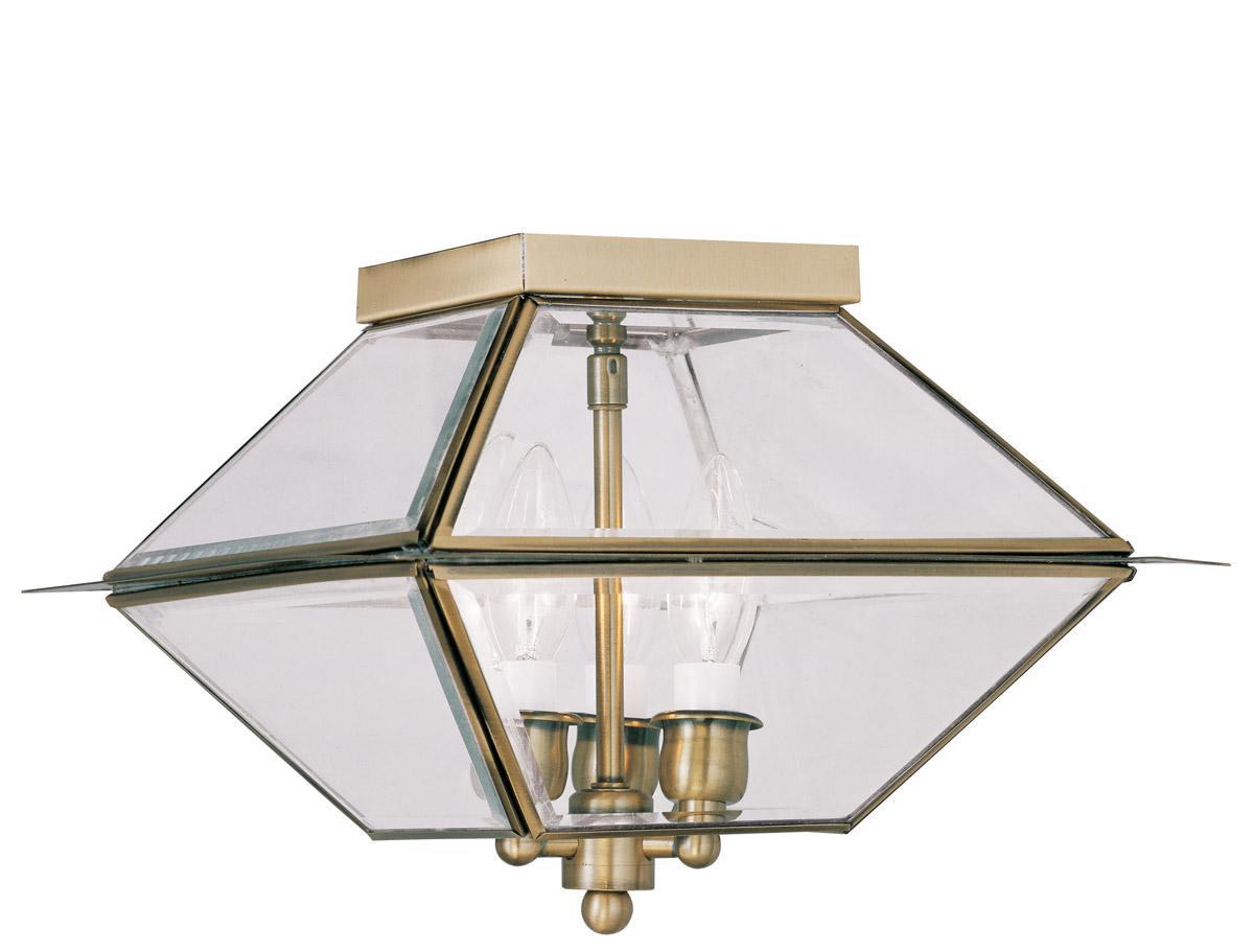 Antique brass livex westover outdoor 3 light flush mount ceiling fixture 2185 01 for Exterior flush mount ceiling light fixtures
