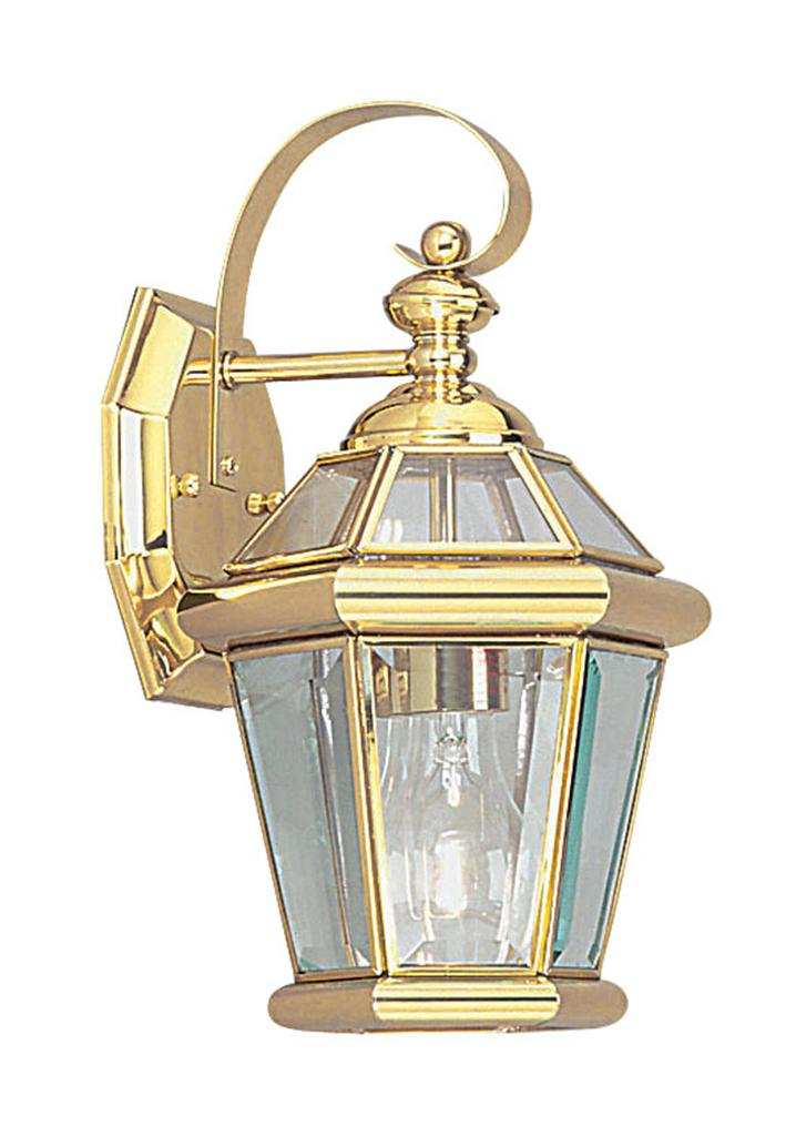 Livex 1 l georgetown polished brass outdoor wall sconce lighting fixture 2061 02 ebay for Exterior brass lighting fixtures
