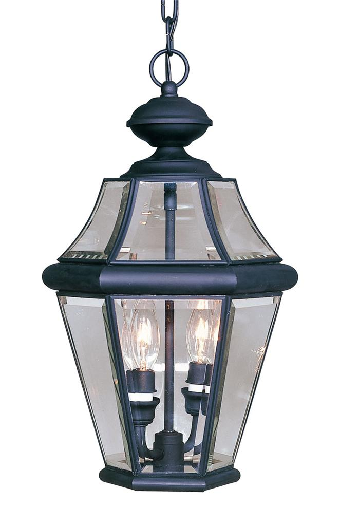 Black Porch Livex Georgetown 2 Light Outdoor Chain Hang Pendant Lighting 2265