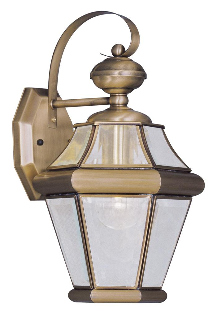 Antique Brass 1 L Georgetown Livex Exterior Wall Sconce Lighting Fixture 2161