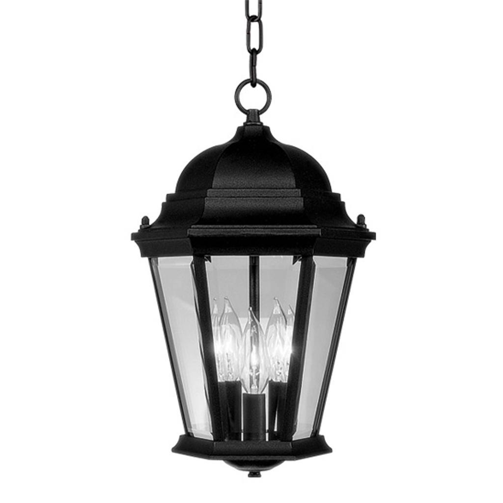 livex hamilton 3 light black outdoor pendant lighting chain hang fixture 7564 04 ebay. Black Bedroom Furniture Sets. Home Design Ideas