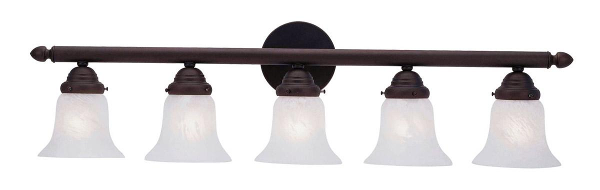 Bathroom Vanity Light Height New Install : 5 Light Livex Home Basics Bronze Bathroom Vanity Lighting Wall Fixture 1065-07 eBay