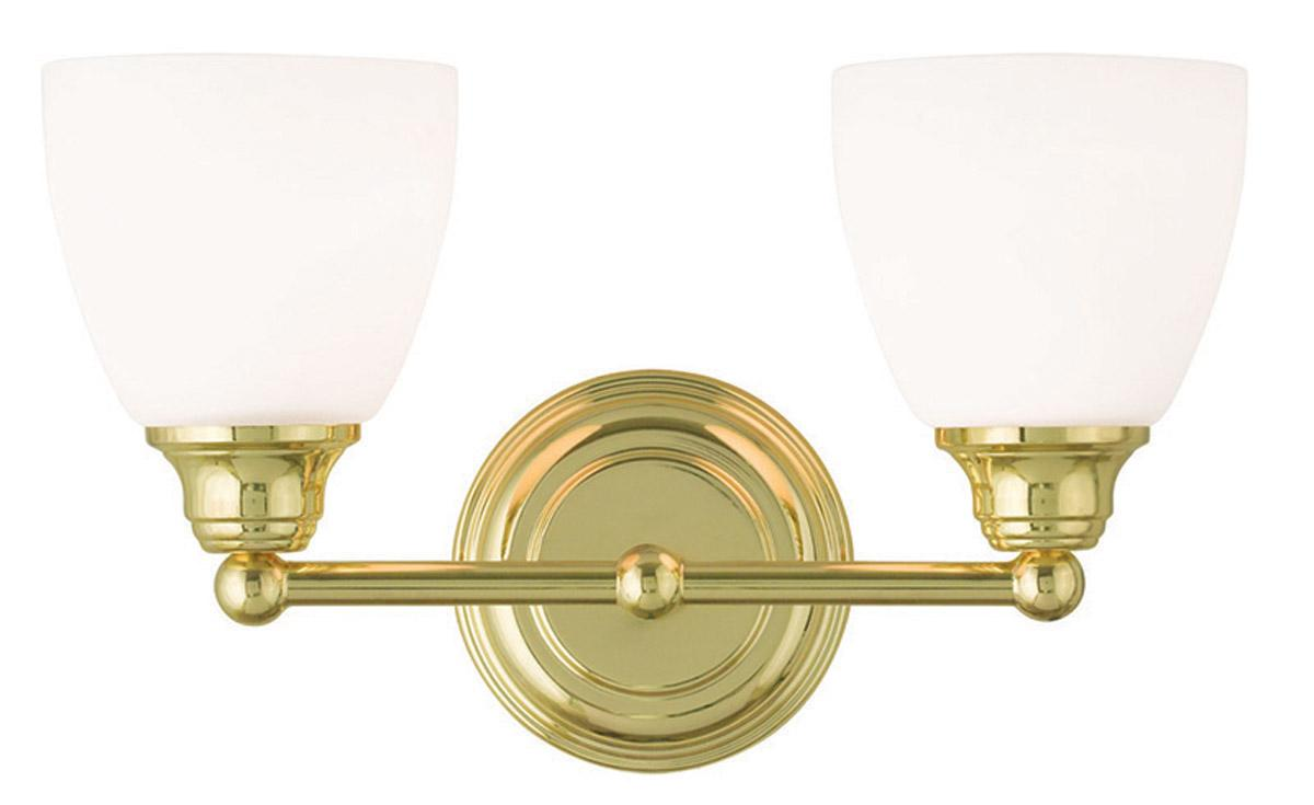 Unique NEW 2 Light Bathroom Vanity Lighting Fixture Antique Brass White