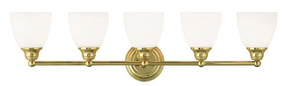 Somerville Polished Brass Livex 5 Light Bath Vanity Lighting Fixture 13665 02 Ebay