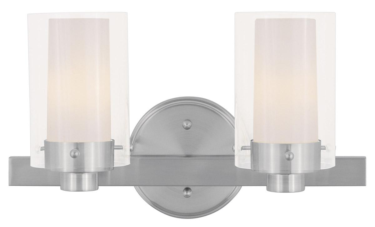 Vanity Lights Up Or Down : 2 Light Livex Brushed Nickel Manhattan Bathroom Vanity Lighting Fixture 1542-91 eBay
