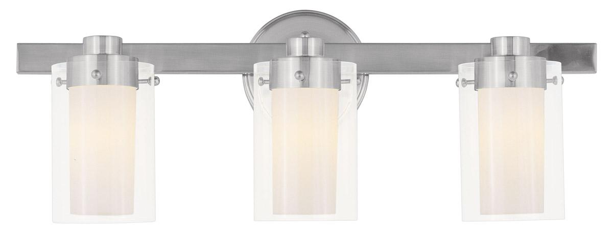 Manhattan Brushed Nickel Livex 3 L Bathroom Vanity Lighting Fixture Sale 1543-91 eBay