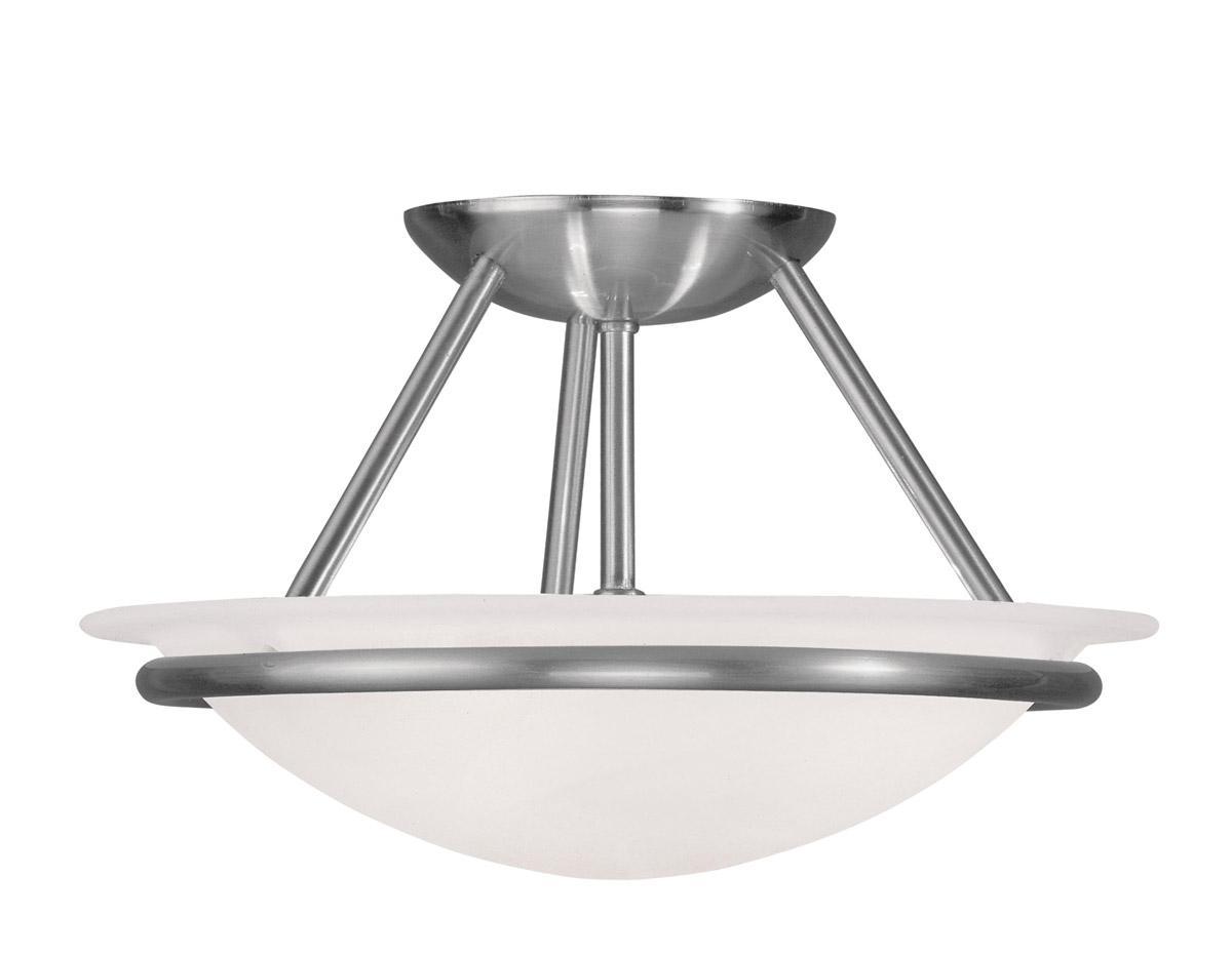 Progress Lighting Inspiration 2 Light Brushed Nickel: 2 L Brushed Nickel Newburgh Semi Flush Ceiling Livex