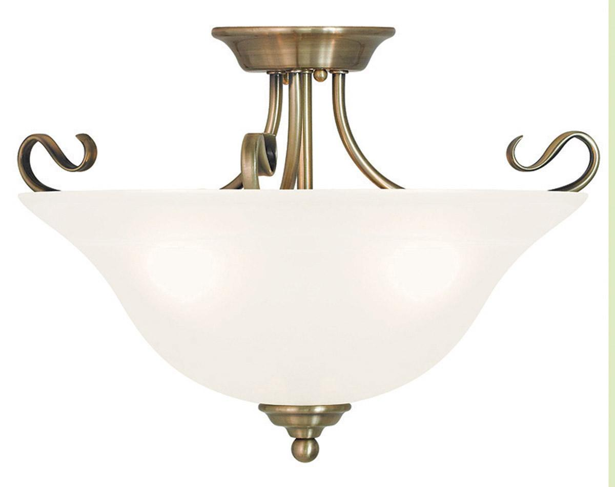 Antique Brass Livex Coronado 3 Light Semi Flush Ceiling Mount Fixture 6130 01