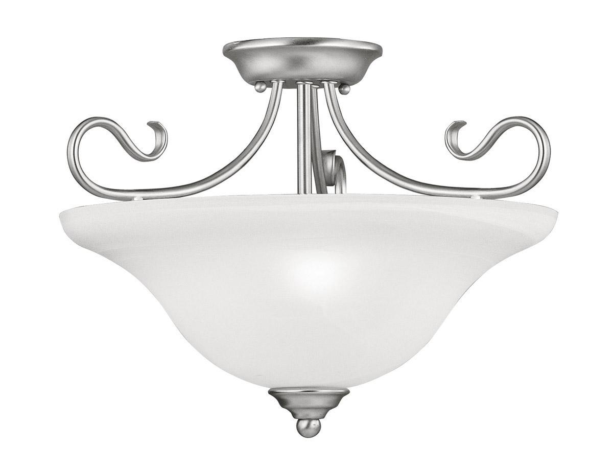 livex coronado 3 light brushed nickel semi flush ceiling. Black Bedroom Furniture Sets. Home Design Ideas