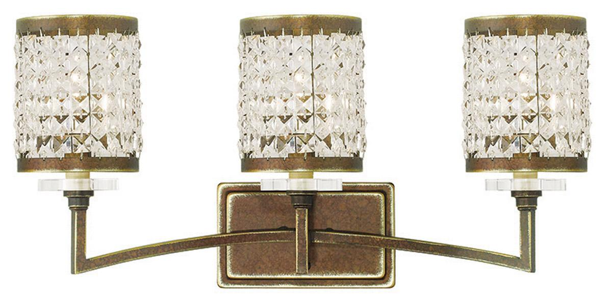 Hampton Bay 3 Light Bronze Bath Light 25107: Grammercy Livex 3 Light Crystal Palacial Bronze Bathroom